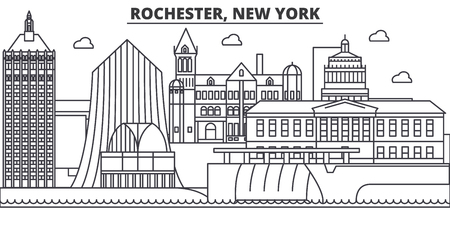 Rochester, New York architecture line skyline illustration. Stock Vector - 87749282