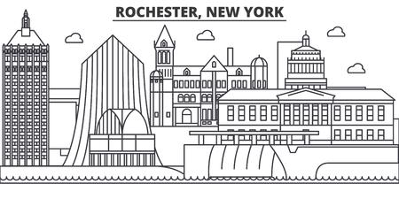 Rochester, New York architecture line skyline illustration. Illustration