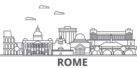 Rom-Architekturlinie Skylineillustration. Vektorgrafik