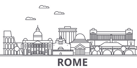 Rome architecture line skyline illustration. Illustration