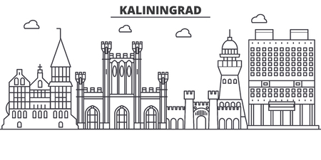 Russia, Kaliningrad architecture line skyline illustration. Ilustração
