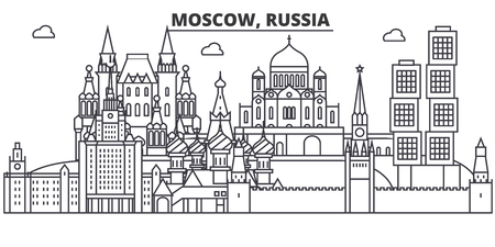 Russia, Moscow architecture line skyline illustration.