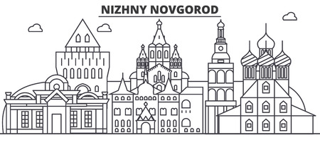 Russia, Nizhny Novgorod architecture line skyline illustration.