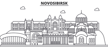 Russia, Novosibirsk architecture line skyline illustration. ]