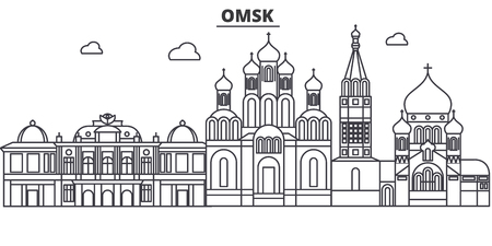 Russia, Omsk architecture line skyline illustration.
