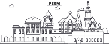 Russia, Perm architecture line skyline illustration. Stock Vector - 87749286