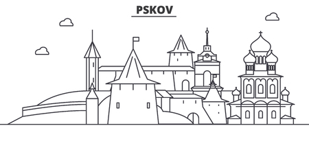 Russia, Pskov architecture line skyline illustration. Ilustração