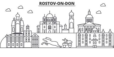 Russia, Rostov On Don architecture line skyline illustration. Çizim