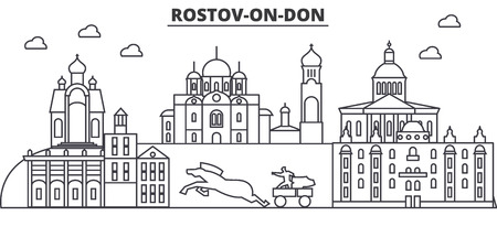Russia, Rostov On Don architecture line skyline illustration. Illustration