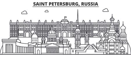 ロシア、サンクトペテルブルク建築線スカイラインの図。  イラスト・ベクター素材