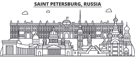 Russia, Saint Petersburg architecture line skyline illustration. Illustration
