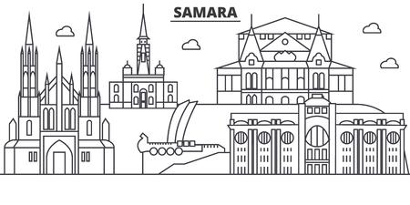 Russia, Samara architecture line skyline illustration.