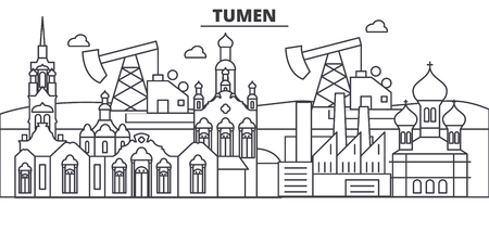 Russia, Tumen architecture line skyline illustration.