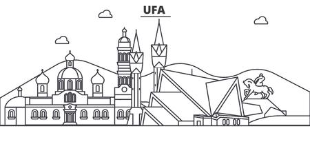 Russia, Ufa architecture line skyline illustration. Ilustração