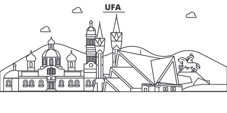 Russia, Ufa architecture line skyline illustration. Illustration