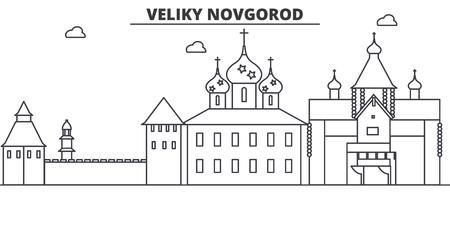 Russia, Veliki Novgorod architecture line skyline illustration.