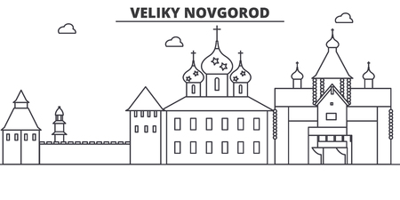 Russia, Veliki Novgorod architecture line skyline illustration.