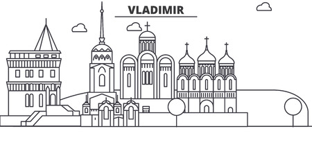 Russia, Vladimir architecture line skyline illustration.