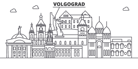 Russia, Volgograd architecture line skyline illustration. 向量圖像