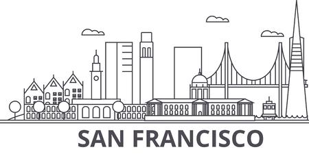 サンフランシスコ建築線スカイラインの図。  イラスト・ベクター素材