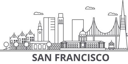 San Francisco architecture line skyline illustration.
