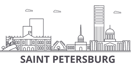 Sankt Petersburg architecture line skyline illustration.