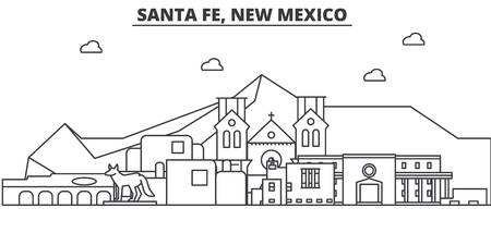 Santa Fe, New Mexico architecture line skyline illustration.