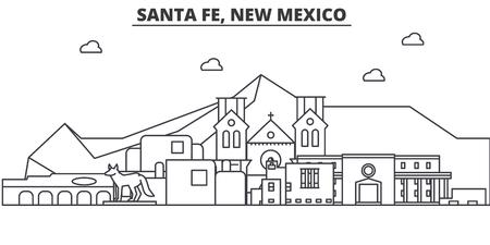 Santa Fe, New Mexico-de horizonillustratie van de architectuurlijn.