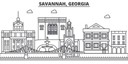 Savannah, Georgia architecture line skyline illustration. Stock Illustratie