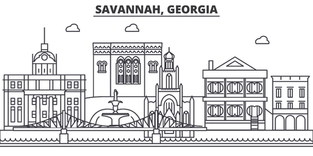 Savannah, Georgia architecture line skyline illustration. Illustration