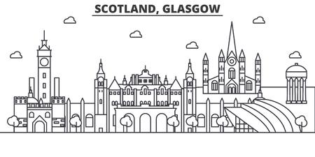 Scotland, Glasgow architecture line skyline illustration.