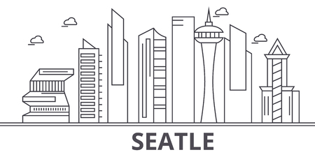 Seattle architecture line skyline illustration. Иллюстрация