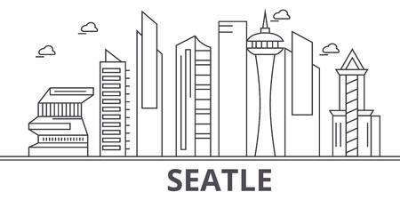 Seattle architecture line skyline illustration. Illustration