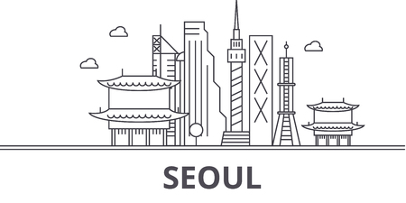 Seoul architecture line skyline illustration.