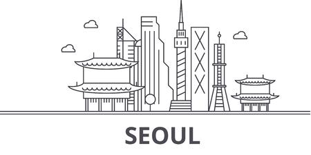 Seoul architecture line skyline illustration.