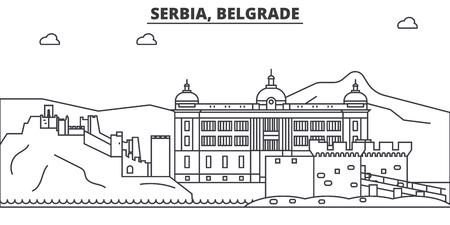 Serbia, Belgrade architecture line skyline illustration.]