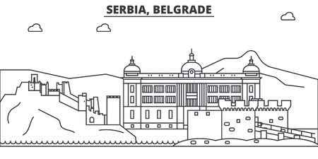 Serbia, Belgrade architecture line skyline illustration.]