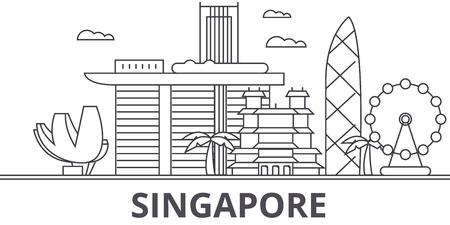 Eine Singapur-Architekturlinie Skylineillustration. Standard-Bild - 87750265