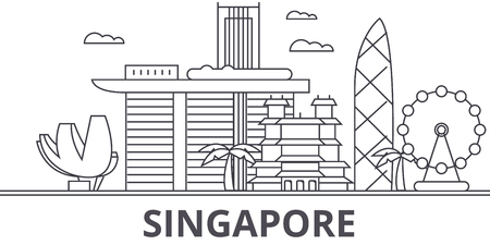 A Singapore architecture line skyline illustration.