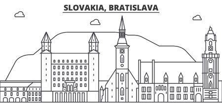 Slovakia, Bratislava architecture line skyline illustration. Çizim