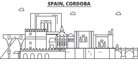 Spain, Cordoba architecture line skyline illustration.
