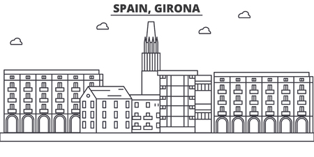 Spain, Girona architecture line skyline illustration.