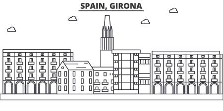 Spain, Girona architecture line skyline illustration.