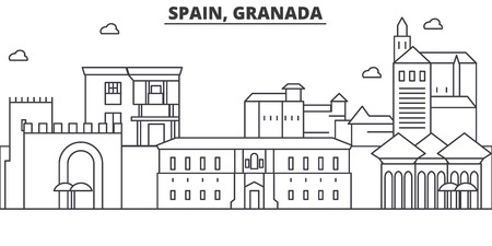 Spain, Granada architecture line skyline illustration.