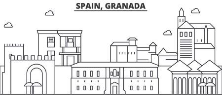 Spain, Granada architecture line skyline illustration.
