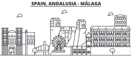 Spanje, Malaga, Andalusië de horizonillustratie van de architectuurlijn.