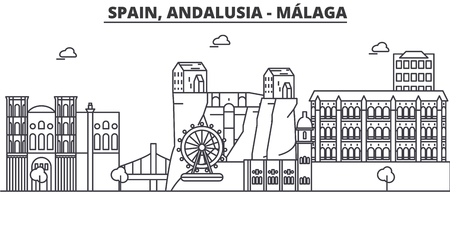 Spain, Malaga, Andalusia architecture line skyline illustration. Illustration