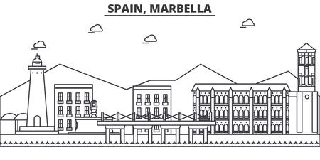 Spain, Marbella architecture line skyline illustration. Ilustração