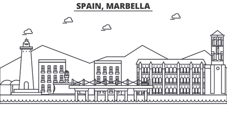Spain, Marbella architecture line skyline illustration. Illustration