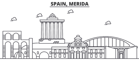 Spain, Merida architecture line skyline illustration.